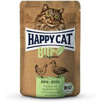 12 x 85 g | Happy Cat | Huhn & Ente Bio | Nassfutter | Katze