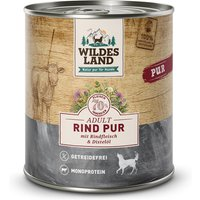 6 x 800 g | Wildes Land | Rind mit Distelöl PUR Adult | Nassfutter | Hund